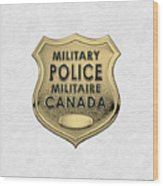Canadian Forces Military Police C F M P  -  M P Officer Id Badge Over White Leather Wood Print