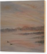 Canadian Geese At Sunset Wood Print