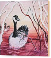 Canadian Geese Sunset Wood Print