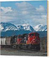 Canadian National Freight Train Leaving The Rockies - Hinton Alberta Wood Print