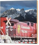 Canadian Pacific Trail Slices Through The Rockies Wood Print