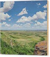 Canadian Prairie At Head-smashed-in Buffalo Jump Wood Print