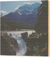 Canadian Rockies Cascade Wood Print