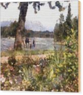 Canadian Sunday Out By The Lake Wood Print