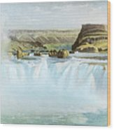 Canadian Water Fall Wood Print