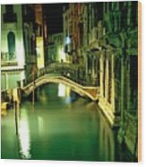Canal And Bridge In Venice At Night Wood Print