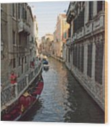 Canal And Gondola Wood Print