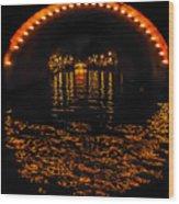 Canal At Night - Amsterdam Wood Print