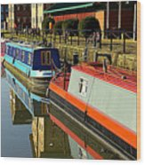 Canal Barges At Gloucester Dock Wood Print