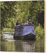 Canal Boat Wood Print