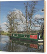 Canal Boat On Wey Navigations Wood Print