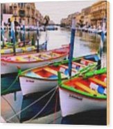 Canal Boats On A Canal In Venice L A S Wood Print
