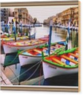 Canal Boats On A Canal In Venice L A S With Decorative Ornate Printed Frame.  Wood Print