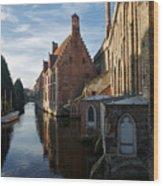 Canal By Church Wood Print