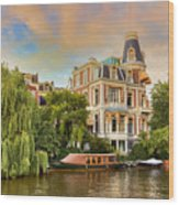 Canal In Amsterdam Wood Print