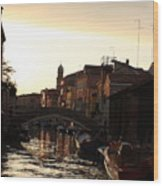 Canal In Venice At Sunset Wood Print