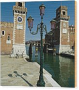 Canal Leading Into The Arsenale Wood Print