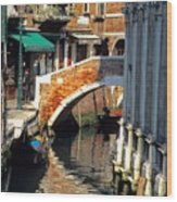 Canal Next To Church Of The Miracoli In Venice Wood Print