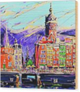 Canal Of Amsterdam, Storm Is Comming Wood Print