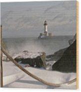 Canal Park Lighthouse Wood Print by Heidi Hermes