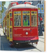 Canal Street Cable Car Wood Print