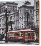 Canal Street Trolley Wood Print