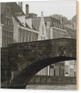 Canal View Of Bruges Wood Print
