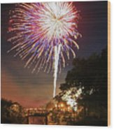 Canal View Of Fire Works Wood Print