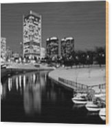 Canal Walk And Richmond Skyline In Black And White Wood Print