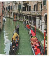 Canal With Gondolas In Venice Italy Wood Print