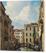Canal With Iron Bridge In Venice Wood Print