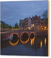 Canals Of Amsterdam At Night Wood Print