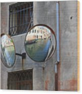 Canals Reflected In Mirrors In Venice Italy Wood Print