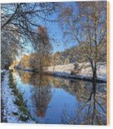 Canalside Winter Wonderland Wood Print