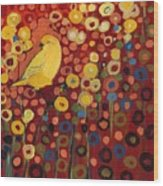 Canary In Red Wood Print by Jennifer Lommers