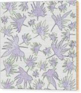 Canary Vine Leaves - Purple And Green Wood Print