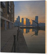 Canary Wharf Sunrise Wood Print by Donald Davis