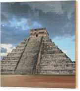 Cancun Mexico - Chichen Itza - Temple Of Kukulcan-el Castillo Pyramid 3  Wood Print