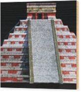 Cancun Mexico - Chichen Itza - Temple Of Kukulcan-el Castillo Pyramid Night Lights 1 Wood Print
