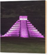 Cancun Mexico - Chichen Itza - Temple Of Kukulcan-el Castillo Pyramid Night Lights 2 Wood Print