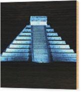 Cancun Mexico - Chichen Itza - Temple Of Kukulcan-el Castillo Pyramid Night Lights 3 Wood Print