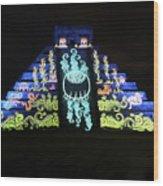 Cancun Mexico - Chichen Itza - Temple Of Kukulcan-el Castillo Pyramid Night Lights 6 Wood Print
