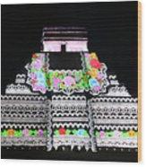Cancun Mexico - Chichen Itza - Temple Of Kukulcan-el Castillo Pyramid Night Lights 8 Wood Print