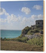 Cancun Mexico - Tulum Ruins - Temple For God Of The Wind 1 Wood Print