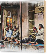 Candid Bored Yawn Pj Exotic Travel Blue City Streets India Rajasthan 1a Wood Print
