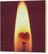 Candle Flame Macro Wood Print by Wim Lanclus