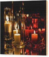 Candle Reflection Wood Print
