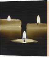 Candle Trio Wood Print