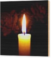 Candlelight And Roses Wood Print