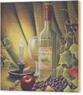 Candlelight Wine And Grapes Wood Print